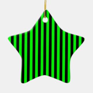 Thin Stripes - Black and Electric Green Ceramic Star Ornament