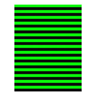 Thin Stripes - Black and Electric Green Custom Letterhead