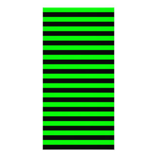 Thin Stripes - Black and Electric Green Customized Photo Card