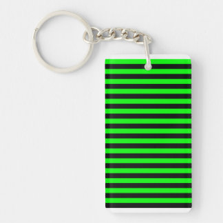 Thin Stripes - Black and Electric Green Double-Sided Rectangular Acrylic Keychain