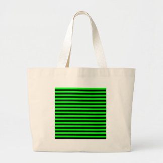 Thin Stripes - Black and Electric Green Large Tote Bag