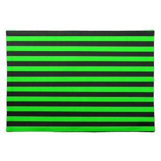 Thin Stripes - Black and Electric Green Placemat