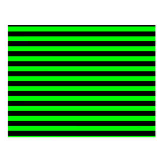 Thin Stripes - Black and Electric Green Postcard