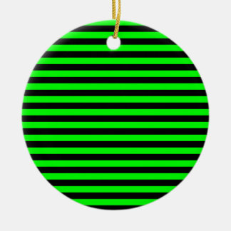 Thin Stripes - Black and Electric Green Round Ceramic Ornament