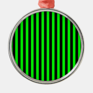 Thin Stripes - Black and Electric Green Silver-Colored Round Ornament
