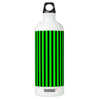 Thin Stripes - Black and Electric Green Water Bottle