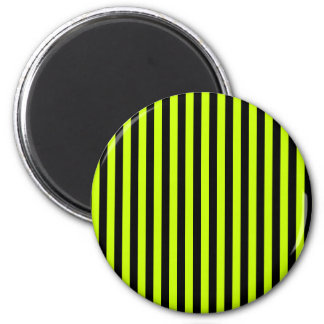 Thin Stripes - Black and Fluorescent Yellow 2 Inch Round Magnet