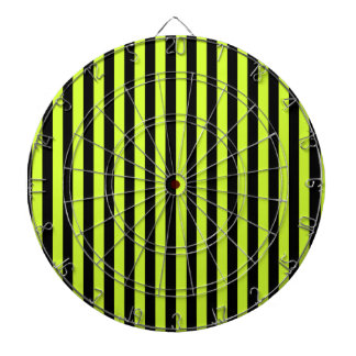 Thin Stripes - Black and Fluorescent Yellow Dartboard With Darts