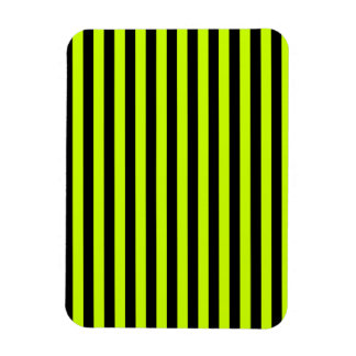 Thin Stripes - Black and Fluorescent Yellow Rectangular Photo Magnet