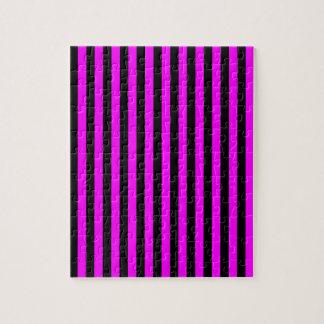 Thin Stripes - Black and Fuchsia Jigsaw Puzzle