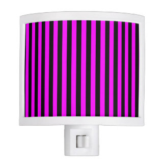 Thin Stripes - Black and Fuchsia Night Light