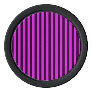 Thin Stripes - Black and Fuchsia Poker Chips