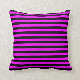 Thin Stripes - Black and Fuchsia Throw Pillow
