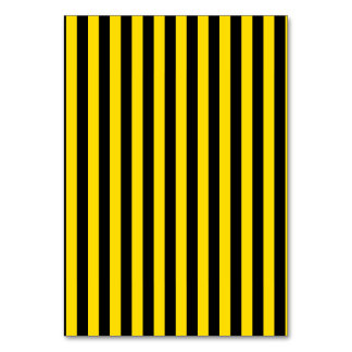Thin Stripes - Black and Golden Yellow Table Cards