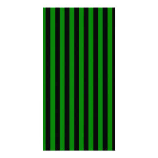 Thin Stripes - Black and Green Photo Card Template