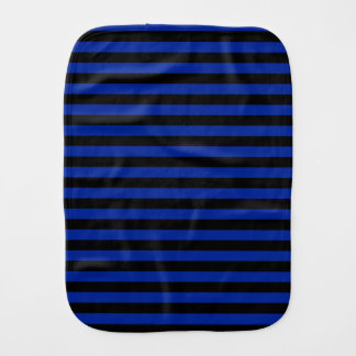 Thin Stripes - Black and Imperial Blue Baby Burp Cloths