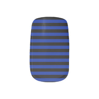 Thin Stripes - Black and Imperial Blue Nail Wraps
