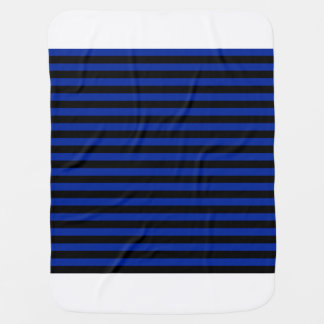 Thin Stripes - Black and Imperial Blue Stroller Blankets