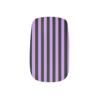 Thin Stripes - Black and Lavender Minx Nail Art