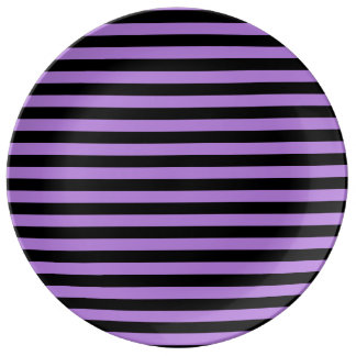 Thin Stripes - Black and Lavender Plate
