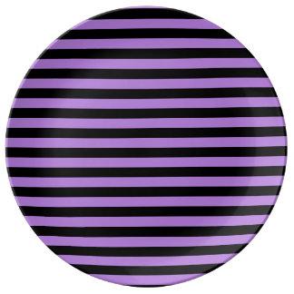 Thin Stripes - Black and Lavender Porcelain Plate