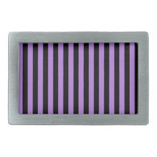 Thin Stripes - Black and Lavender Rectangular Belt Buckle