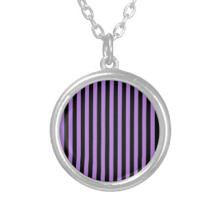 Thin Stripes - Black and Lavender Silver Plated Necklace
