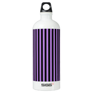 Thin Stripes - Black and Lavender Water Bottle