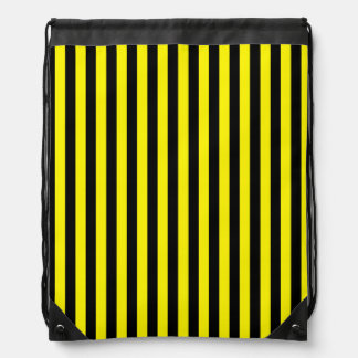 Thin Stripes - Black and Lemon Drawstring Bag