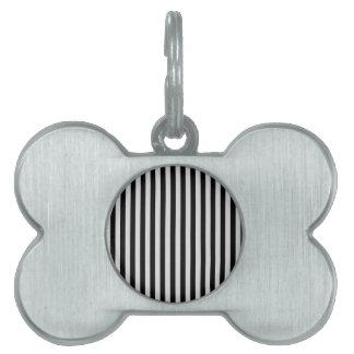 Thin Stripes - Black and Light Gray Pet Name Tag