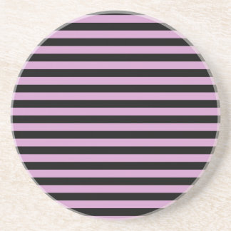 Thin Stripes - Black and Light Medium Orchid Drink Coasters