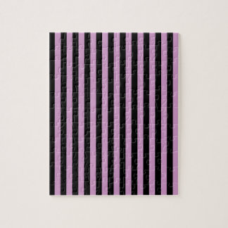 Thin Stripes - Black and Light Medium Orchid Jigsaw Puzzle