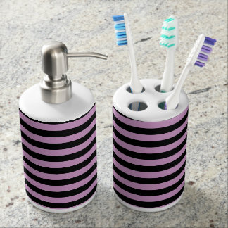 Thin Stripes - Black and Light Medium Orchid Soap Dispenser And Toothbrush Holder