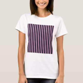 Thin Stripes - Black and Light Medium Orchid T-Shirt