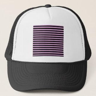 Thin Stripes - Black and Light Medium Orchid Trucker Hat