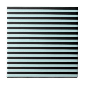 Thin Stripes - Black and Pale Blue Ceramic Tiles