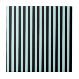 Thin Stripes - Black and Pale Blue Tile