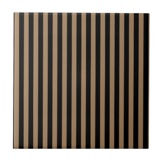 Thin Stripes - Black and Pale Brown Tiles