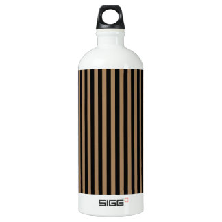 Thin Stripes - Black and Pale Brown Water Bottle