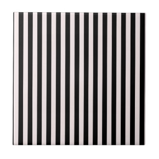 Thin Stripes - Black and Pale Pink Ceramic Tile