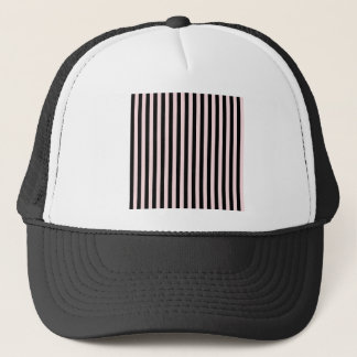 Thin Stripes - Black and Pale Pink Trucker Hat