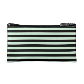 Thin Stripes - Black and Pastel Green Cosmetic Bag