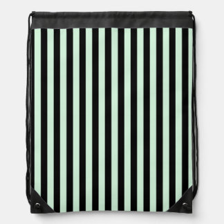 Thin Stripes - Black and Pastel Green Drawstring Bag