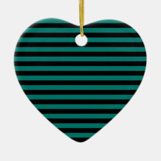 Thin Stripes - Black and Pine Green Ceramic Heart Ornament