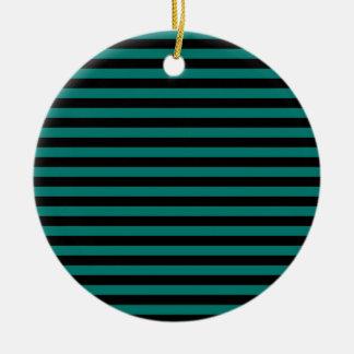 Thin Stripes - Black and Pine Green Ceramic Ornament