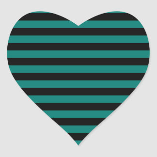 Thin Stripes - Black and Pine Green Heart Sticker
