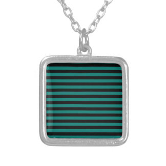 Thin Stripes - Black and Pine Green Silver Plated Necklace