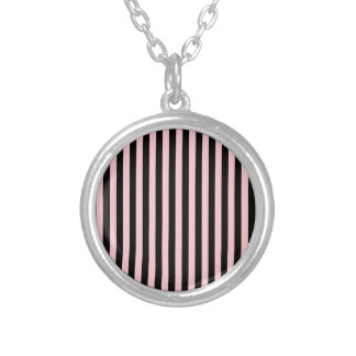 Thin Stripes - Black and Pink Silver Plated Necklace