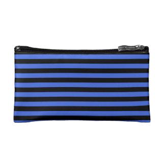 Thin Stripes - Black and Royal Blue Makeup Bags