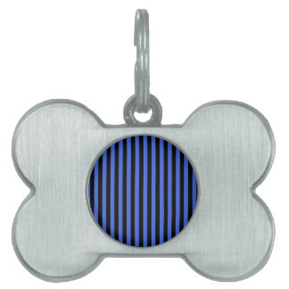 Thin Stripes - Black and Royal Blue Pet Name Tag